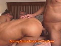 Granny and Grandpa fuck a CUTE TEEN GIRL