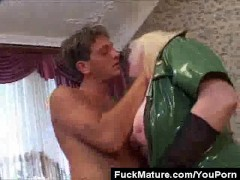 Chunky Blonde Mature In Latex Pussy Licked