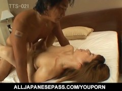 Japanese AV Model has hairy cunt exposed, licked and doggy fucked