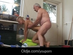 Tattoed short haired student milking grandpa dick