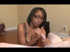 Ebony Strokes A Monster Cock In Her Undies