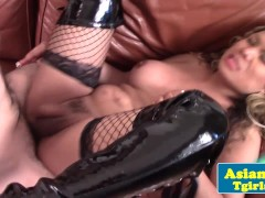 Busty asian ladyboy facialized by some dude