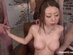Big boob slut gets showered in cum after blowbang