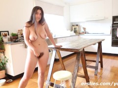 Hairy Self Fuck on the kitchen Table!