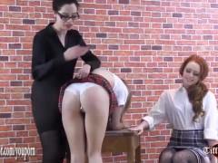 Cute naughty peachy bum schoolgirls spanking for smoking in slutty skirts