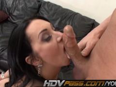 Hot Brunette MILF Rayvenes Sucking Stiff Cock