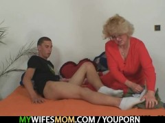 : Mother-in-law fucks him and wife comes in