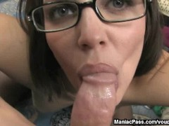 Cum all over face and glasses