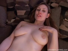 Awesome chubby honey plays with her soaking wet pussy