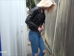Beautiful daring blonde milf Atlantas public flashing and outdoor homemade voyeur exposure of fit amateur nude mum in the streets