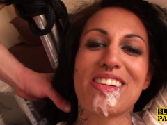 Alternative brit submissive facialized before being drenched