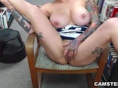 Big tits college girl masturbates in schools library on cam