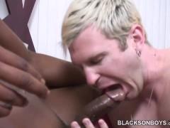 Blonde guy having bareback interracial gay sex