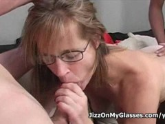 Hot milf tabitha watched by her husband as she sucks two huge cocks