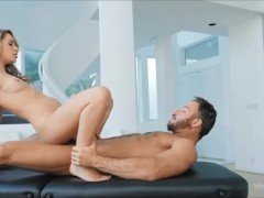 Masseur doing blowjob and sex on the table