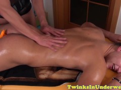 Twunk ass stuffed with plug during massage