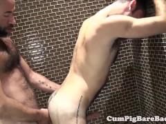Mature bear barebacks cub in steamy shower