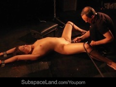 Good bondage slave mouth dirty of cum in bdsm sub unbearable fuck