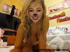 Stunning blonde wearing her cat costume for halloween...