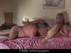 Gorgeous blonde girlfriend crazy fucking fat grandpa after romantic blowjob