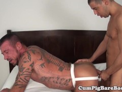 Ripped mature bear cocksucks in bareback trio