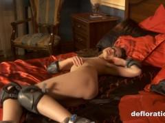 Virgin Rita shows pussy