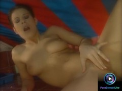 : Amazing babe Lora Craft gets naked flaunting her delicious privates