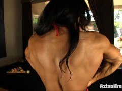 Crazy fit women uses dildo on huge clit