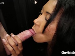Amateur Milf Gets talked into sucking strangers dicks in gloryhole