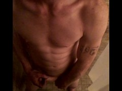 Limp to hard clock and cum in shower