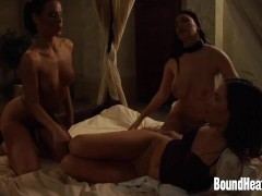 Lesbian Mistress With Big Naturals Using Strapon on Slaves