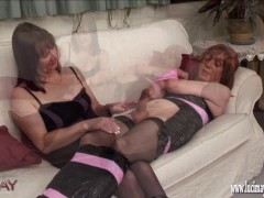 Naughty kinky TGirl is wrapped and bound before wanking and shooting her horny load