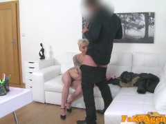 Fake Agent Massive tits short hair babe loves agent cock
