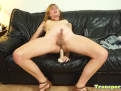 Solo amateur trans toying her ass with dildo