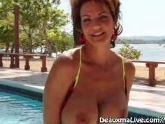 Mature Milf Deauxma All Wet Outside Poolside & Nude Beach!