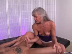 Mature slut jerking a young man.mp4