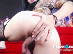 Sexy Tgirl Jerk and Ass Play
