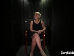 3 sexy girls enter a random gloryhole and suck dick