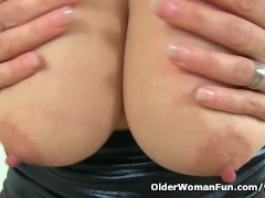 British milf Gemma Gold can t ignore her pantyhosed fanny