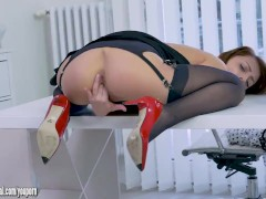 Blonde office slut Kate Rose teases upskirt in nylon suspenders then slips panties off to wank off on desk in stockings and stiletto heels