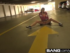 Barely Legal Riley Mae Gives a Public Parking Garage Blowjob