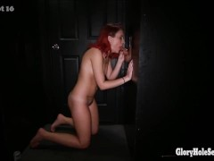 3 freaky women sucking the cum out of cocks in a gloryhole