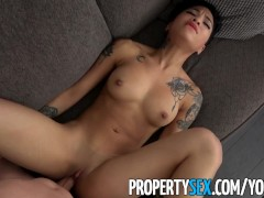 PropertySex - Hot petite tenant late on rent fucks her landlord