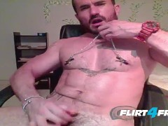 Dennix Tugs His Nipple Clamps and Shoots a Big Load