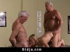Vintage Old Young - Teenie Girl Fucked by 2 white hair grandpas