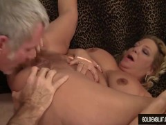 Grandma takes a fat cock and cum in her mouth