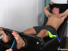 Muscular Madison gets feet and armpits tickeld by older man