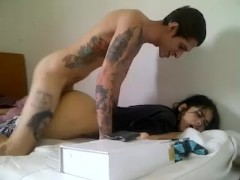 Teen couple young emo girls take tattoed big dick