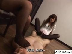 Subtitled JAV femdom pantyhose teasing footjob threesome
