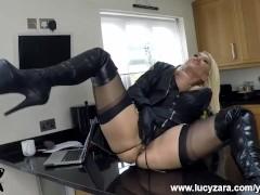 Blonde Milf slut Lucy Zara big boobs masturbates in black panties leather gloves and thigh high boots